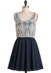 Elegant on Arrival Dress - Short, Blue, White, Cutout, Lace, Party, Twofer, Tank top (2 thick straps)