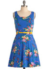 Friendly Floral Arrangements Dress - Short, Blue, Red, Yellow, Green, Purple, Floral, Casual, A-line, Tank top (2 thick straps), Summer, Vintage Inspired, Belted, Cotton, Beach/Resort