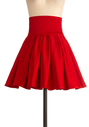 Belle of the Ball Skirt in Crimson - Red, Solid, Pleats, Wedding, Pinup, Vintage Inspired, 60s, Ballerina / Tutu, Formal, Mid-length