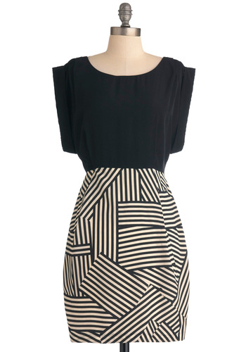 Shower with Compliments Dress in Geometry - Black, White, Stripes, Work, Shift, Cap Sleeves, Mid-length