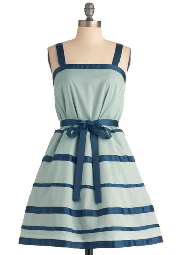 Time for a Refresher Dress - Short, Green, Blue, Stripes, Party, A-line, Spring, Trim, Spaghetti Straps, Fit & Flare