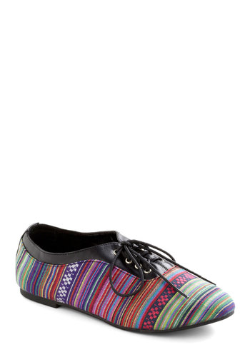 Laser Show Stopper Flat - Multi, Woven, Folk Art, Casual, Faux Leather, Lace Up, Flat