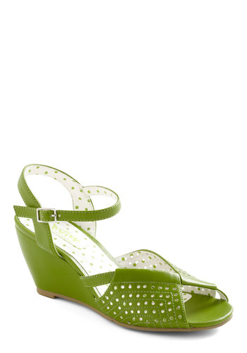 City and Estate Wedge - Green, Solid, Cutout, Vintage Inspired, 60s, Summer, Wedge