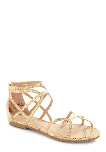 The Bold Standard Sandal - Gold, Casual, Summer, Animal Print