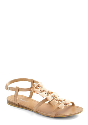 Slide Into Summer Sandal in Beige - Tan, Bows, Casual, Summer, Solid
