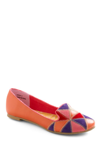 Patch Madames Flat - Orange, Red, Purple, Pink, Casual