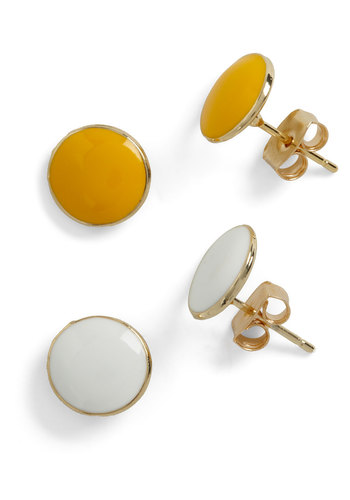 First Round Pick Earring Set - Yellow, White, Solid, Gold, Work