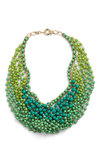 Statement of the Art Necklace in Peacock - Green, Gold, Solid, Daytime Party, Summer