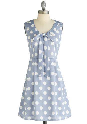 Cumulus Laude Dress by Tulle Clothing - Mid-length, Blue, White, Polka Dots, Bows, Pleats, A-line, Sleeveless, Spring, Pastel, Tie Neck, Scholastic/Collegiate, Fit & Flare, Casual
