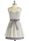 Walk with Me Dress by Tulle Clothing - Mid-length, Purple, Polka Dots, Party, A-line, Sleeveless, Spring, White, Tiered