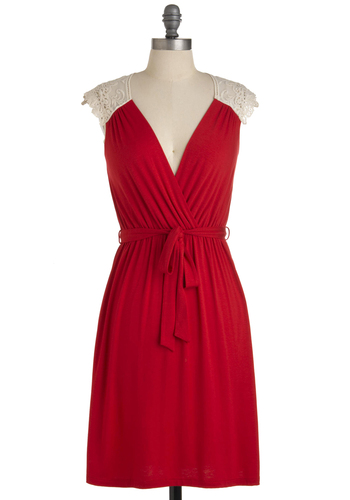 Tango with Me Dress in Red - Mid-length, Red, Solid, Party, Sheath / Shift, Cap Sleeves, Tan / Cream, Lace, Jersey, Daytime Party, V Neck, Summer, Exclusives