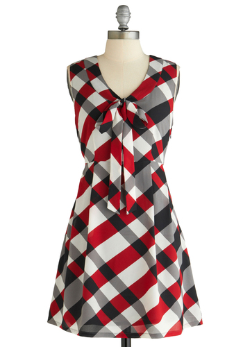 Plaid Grad Dress by Tulle Clothing - Mid-length, Red, Black, Grey, White, Plaid, Bows, Pleats, Party, A-line, Sleeveless, Multi, Tie Neck, Scholastic/Collegiate, Fit & Flare, V Neck