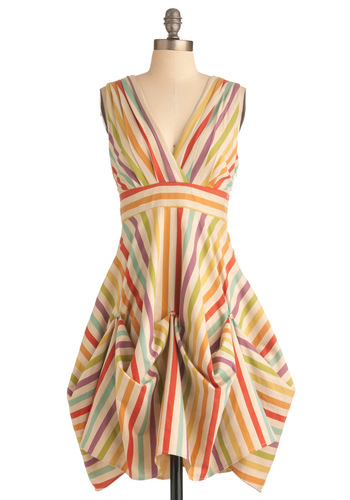 Here in My Carnival Dress by Eva Franco - Multi, Stripes, A-line, Sleeveless, Casual, Vintage Inspired, Multi, Mid-length, Cutout, Pastel, Cotton