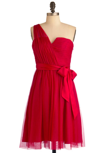Romantic Dance Dress by Max and Cleo - Mid-length, Red, Solid, Formal, Wedding, One Shoulder, Prom, Sheath / Shift, Cocktail, Holiday Party, Ruching