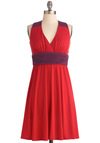 Fresh Fruit Market Dress by Max and Cleo - Mid-length, Red, Purple, Empire, Halter, Casual