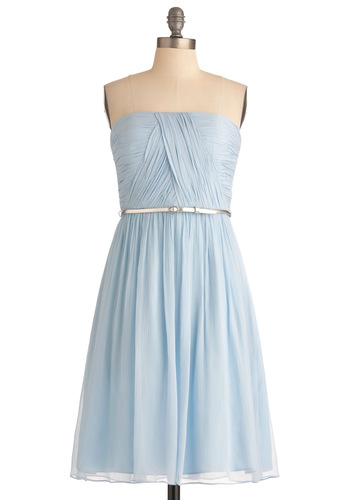 Time of My Life Dress in Light Blue - Wedding, Blue, Solid, Strapless, Formal, Sheath / Shift, Long, Pastel, Belted, Cocktail, Ruching