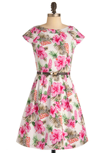 Tropical Travels Dress by Yumi - Mid-length, Multi, Green, Pink, Brown, White, Floral, Bows, Pleats, Pockets, Party, A-line, Cap Sleeves, Summer