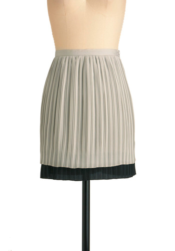 Double Tap Skirt - Short, Grey, Black, Pleats, Work, Solid