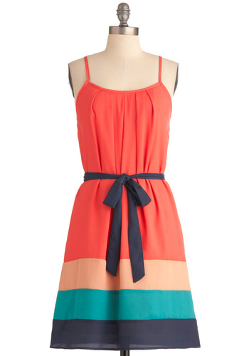 Tropical Sunset Dress - Mid-length, Orange, Blue, Pleats, Party, Shift, Spaghetti Straps, Summer