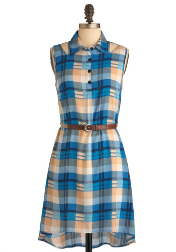 Thank You Prairie Much Dress - Mid-length, Blue, Orange, Plaid, Buttons, Cutout, Casual, Sleeveless, Summer, Multi, Tan / Cream, Shirt Dress, Belted, Collared