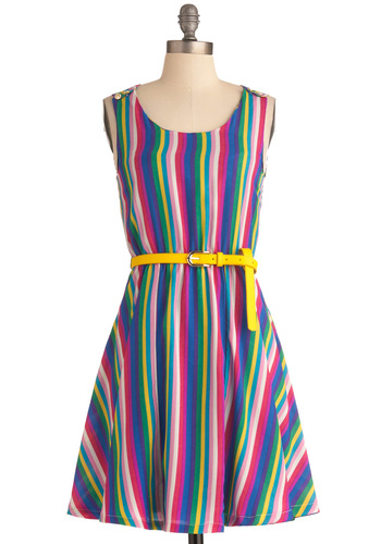 Rainbow Falls Dress by Yumi - Yellow, Green, Blue, Purple, Pink, White, Stripes, Buttons, Pleats, Party, A-line, Tank top (2 thick straps), Summer, Bows