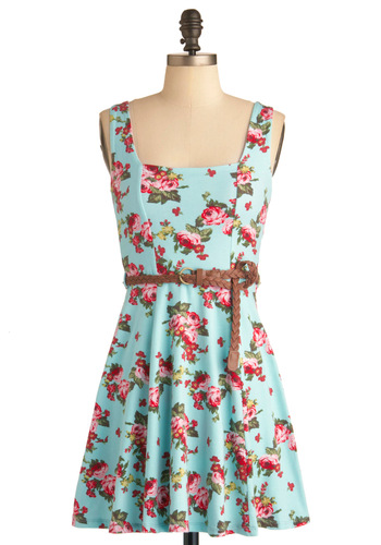 Show Up Stylish Dress - Short, Red, Yellow, Green, Pink, Floral, Party, A-line, Tank top (2 thick straps), Summer, Multi, Blue