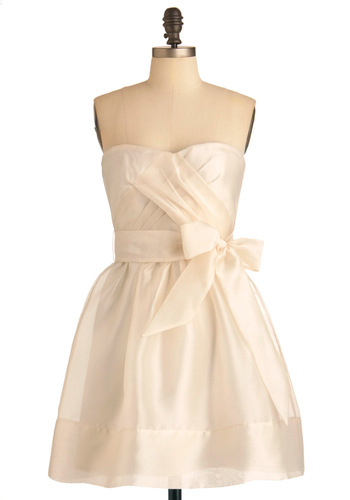 Profiterole Out the Carpet Dress - Solid, Pleats, Special Occasion, Wedding, A-line, Strapless, White, Mid-length, Fit & Flare, Cocktail, Sweetheart