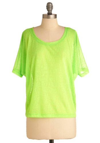 Never Been Brighter Top - Green, Solid, Casual, Urban, Short Sleeves, Statement, Mid-length