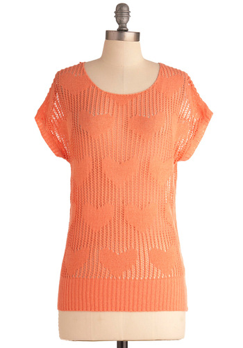 Heart Not to Love Top - Orange, Solid, Knitted, Casual, Short Sleeves, Spring, Mid-length
