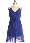 Washed Azure Dress - Short, Blue, Solid, Ruffles, Party, Empire, Halter