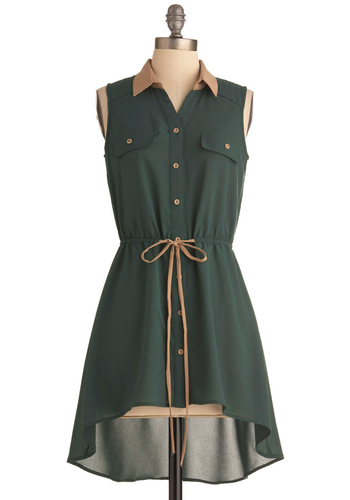 Forest Fete Tunic - Long, Green, Tan / Cream, Buttons, Casual, Solid, Pockets, Safari, Sleeveless