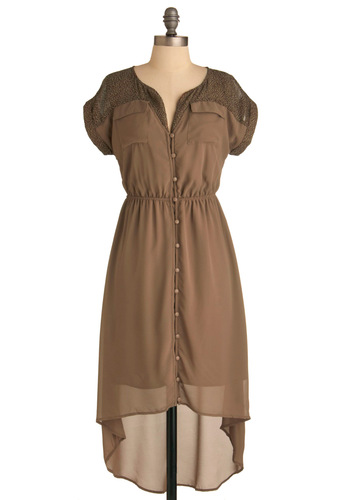Pebble and Flow Dress - Mid-length, Solid, Animal Print, Buttons, Pockets, Short Sleeves, Casual, Safari, Tan, Shirt Dress, Sheer, Button Down, High-Low Hem