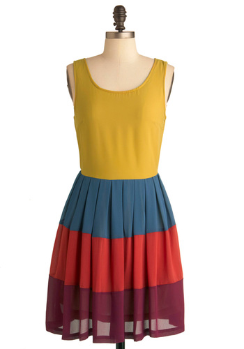 In Colorful Swing Dress - Mid-length, Red, Yellow, Blue, Purple, Exposed zipper, Pleats, Tank top (2 thick straps), 60s, Multi, Casual, Vintage Inspired, A-line