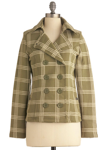 Pour-quad Pas? Jacket - Mid-length, Green, Tan / Cream, Buttons, Pockets, Casual, Long Sleeve, Plaid, Fall, 1.5