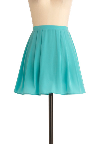 Dive In Skirt - Short, Blue, Solid, Pleats, Casual, A-line, Spring