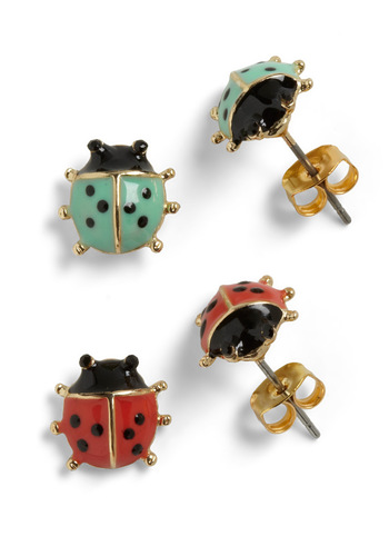 Lord and Ladybug Earrings - Green, Casual, Kawaii, Red