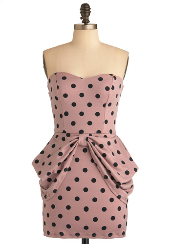 Flirting with Fun Dress - Short, Pink, Black, Polka Dots, Bows, Exposed zipper, Party, Mini, Strapless, 80s, Sweetheart