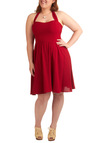 Singing Shirley Dress - Plus Size - Red, Solid, Wedding, Party, Vintage Inspired, A-line, Halter, Summer, Mid-length, Rockabilly, Pinup, Sweetheart, Holiday Party, 50s, Bridesmaid