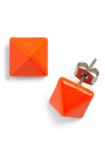 My Point Exactly Earrings - Orange, Solid, 80s, Vintage Inspired