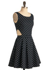 Rockabilly Band Dress - Mid-length, Black, White, Polka Dots, Cutout, Pleats, Party, Vintage Inspired, A-line, Tank top (2 thick straps)