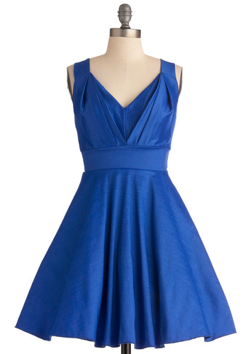 Playing With Sapphire Dress - Short, Blue, Solid, Pleats, Wedding, Party, A-line, Tank top (2 thick straps), Fit & Flare