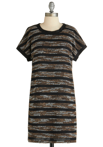 Sample 1803 - Black, Brown, White, Stripes, Party, Casual, Sheath / Shift, Short Sleeves