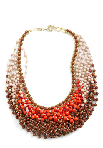 Statement of the Art Necklace in Coral - Brown, Multi, Orange, Purple, Beads, Boho
