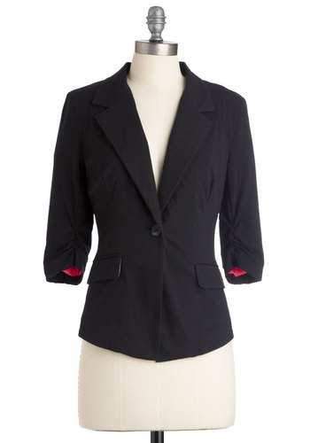 After Five Blazer - Short, Work, Urban, Black, Solid, Pockets, 3/4 Sleeve, Buttons, Menswear Inspired, 1.5
