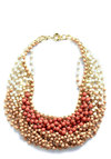Statement of the Art Necklace in Blush - Tan / Cream, Statement, Beads, Tan, Orange, Summer, Party