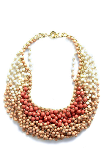 Statement of the Art Necklace in Blush - Tan / Cream, Statement, Beads, Tan, Orange, Summer