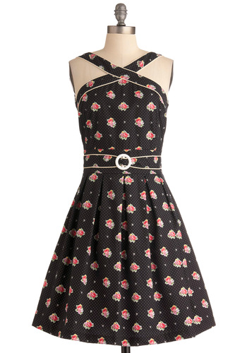 To Bloom It May Concern Dress by Trollied Dolly - Mid-length, Black, Pink, White, Polka Dots, Floral, Buckles, Pleats, Trim, Party, Vintage Inspired, A-line, Halter, Cotton, Fit & Flare, International Designer