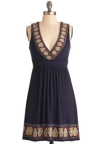 Summer Festival Dress - Mid-length, Blue, Solid, Print, Trim, Casual, Empire, Tank top (2 thick straps), Multi, Summer