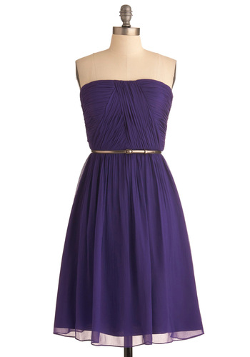 Time of My Life Dress in Violet - Special Occasion, Purple, Solid, Strapless, Wedding, Shift, Long, Belted, Ruching