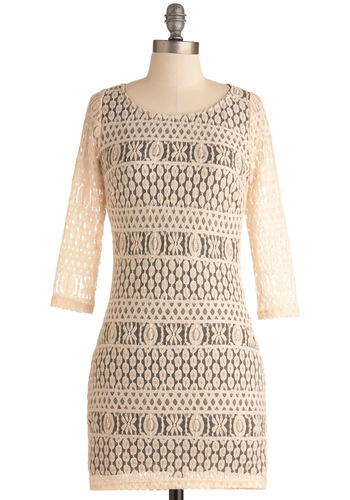 Sand Dollar Theater Dress - Short, Cream, Grey, Lace, Party, Mini, Spring, 3/4 Sleeve